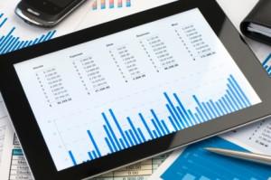 Financial budget on a digital tablet